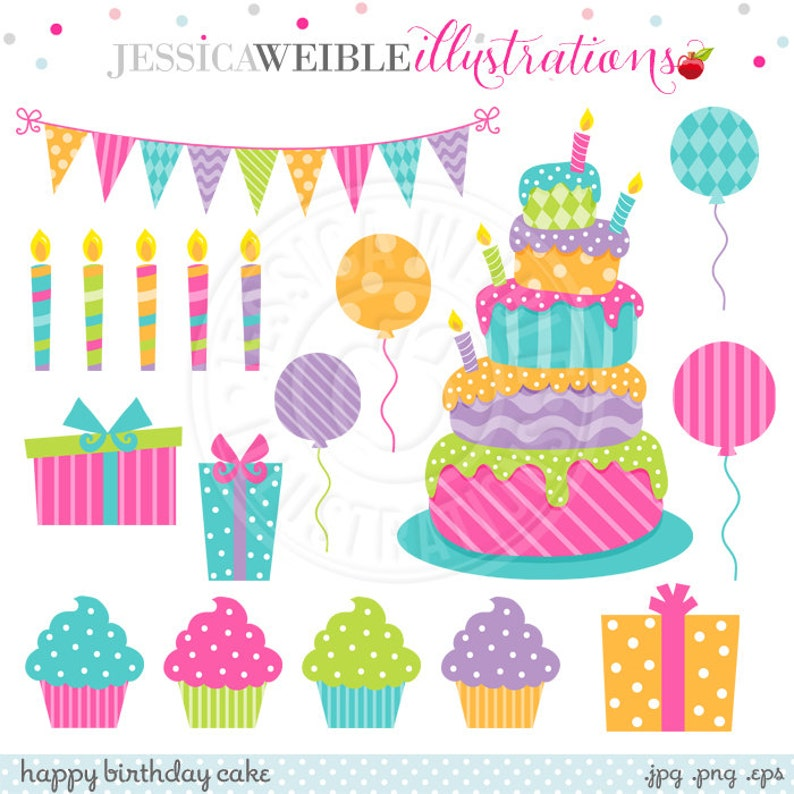 Happy Birthday Cake Cute Digital Clipart For Commercial Or
