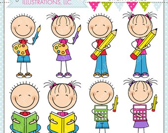 Ready For School Stick Figures Cute Digital Clipart for Commercial or Personal Use, School Clipart, School Graphics, School Activity