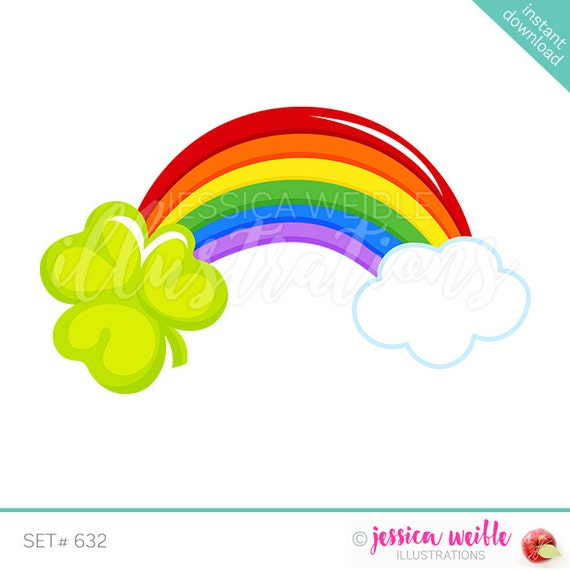 st patricks day shamrock rainbow cute digital clipart st patricks rh etsystudio com clip art rainbow image clip art rainbow gold