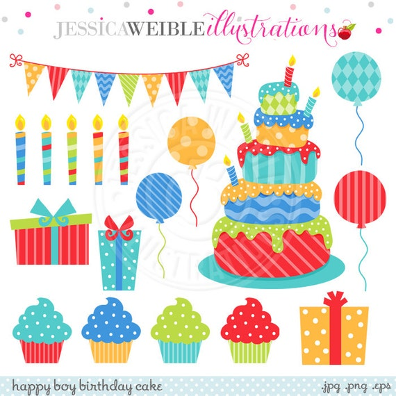 Stupendous Happy Boy Birthday Cake Cute Digital Clipart For Commercial Or Etsy Funny Birthday Cards Online Overcheapnameinfo