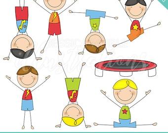 Boys Gymnastics Stick Figures Cute Digital Clipart - Commercial Use OK - Boys Gymnastic Stick Figure Clipart, Gymnast Graphics, Stick Figure