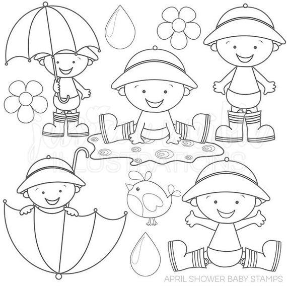 April Shower Baby Cute Digital Stamps Rain Gear Line