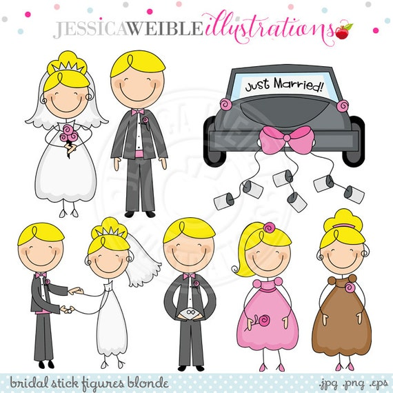 bridal stick figures blonde cute digital clipart commercial use
