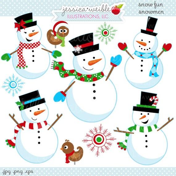 Schnee Spaß Schneemänner Niedlich Digitale Clipart Etsy