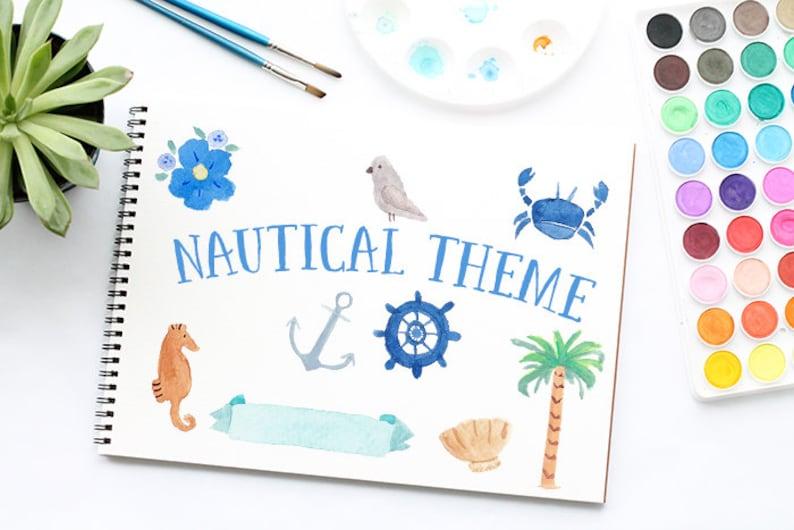 Anchor Watercolour Clip Art Nautical Watercolor Clipart Hand Painted Sea Watercolor Elements Digital Watercolor Nautical Clip Art Crab