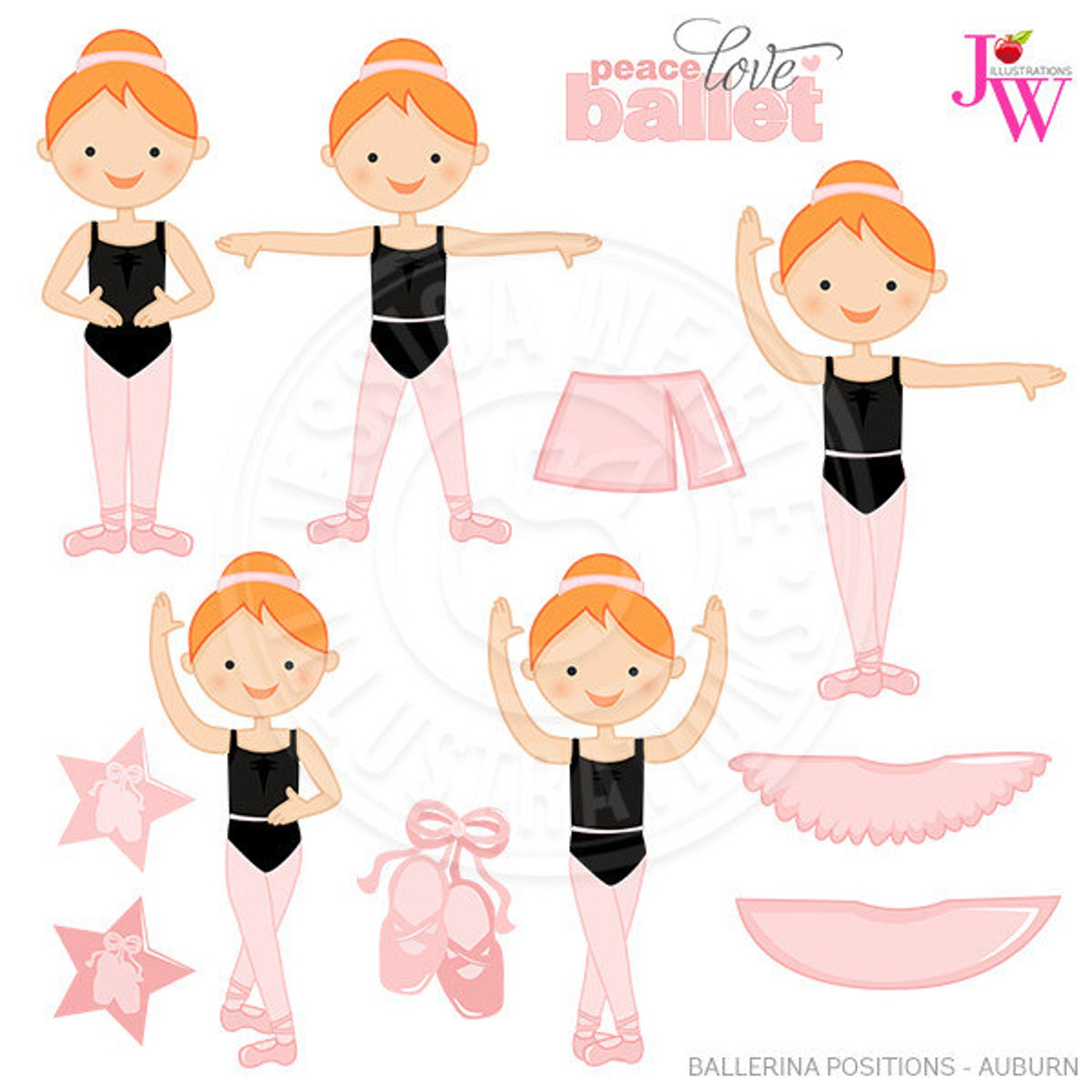 auburn ballerina positions cute digital clipart, ballerina clip art, ballet graphics, ballet positions, instant download, ballet