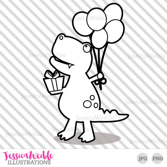 Happy Birthday Dinosaur Cute Digital Stamp T-Rex Dinosaur | Etsy