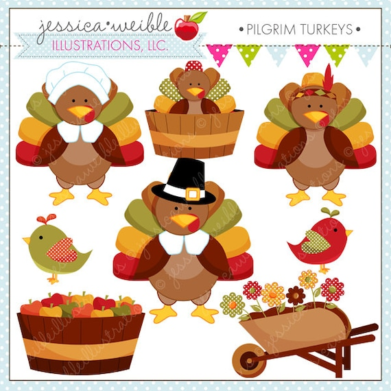 Pilgrim Turkeys Cute Thanksgiving Digital Clipart For