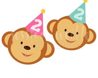2nd Birthday Monkey Cute Digital Clipart, Cute Birthday Monkey Clip art, Birthday Graphics, Monkey Illustration, #251