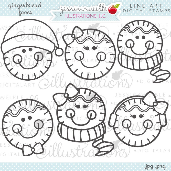 Gingerbread Faces Cute Christmas Digital Stamps For
