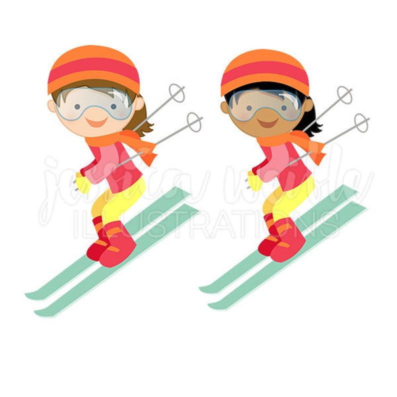 Ragazza in discesa sciatore Cute Digital Clipart inverno sci  f15dc4bd39ae