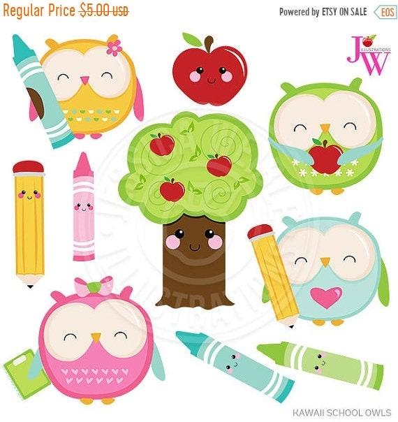 on sale kawaii school owls cute digital clipart cute owl clipart rh etsystudio com cute school house clipart cute school clipart free