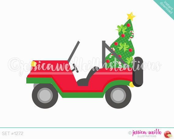 Clip Art Christmas.Instant Download Christmas Jeep Clip Art Cute Digital Clipart Christmas Car Clip Art Christmas Tree In Jeep Beach Illustration 1272
