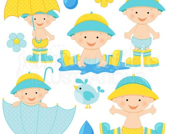 April Shower Baby Boy Cute Digital Clipart, Baby Boy with Umbrella, Baby Shower Clipart, Umbrella Baby Clip Art, Rain Puddle Graphics, Baby