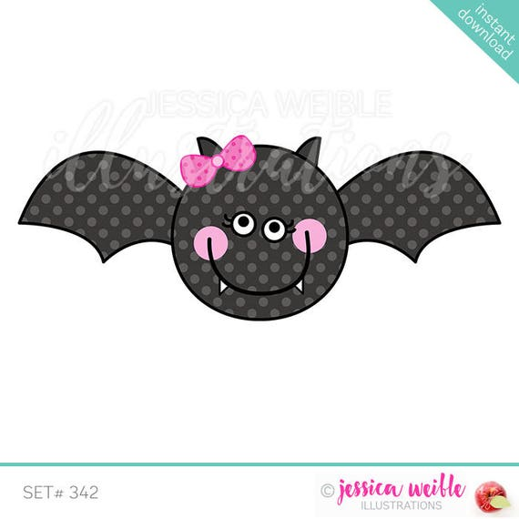 Girly Bat Cute Digital Clipart Halloween Bat Clip art | Etsy