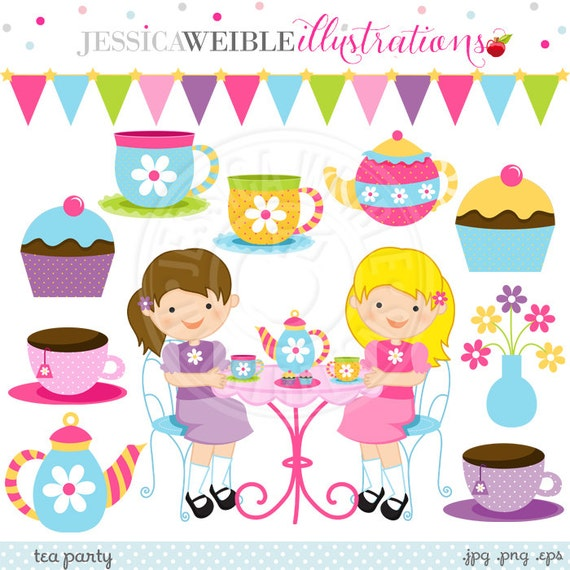 tea party cute digital clipart commercial use ok little girls rh etsystudio com tea party clipart images tea party clipart