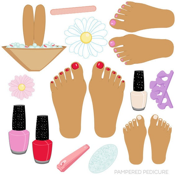 pampered pedicure v2 cute digital clipart commercial use ok etsy rh etsy com clipart manucure pedicure pedicure clipart black and white