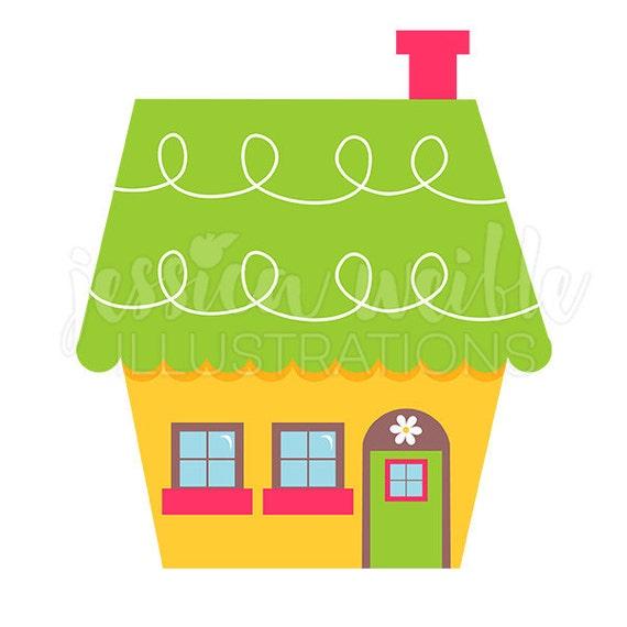 Cute Little Yellow House Digital Clipart Home Clip art ...
