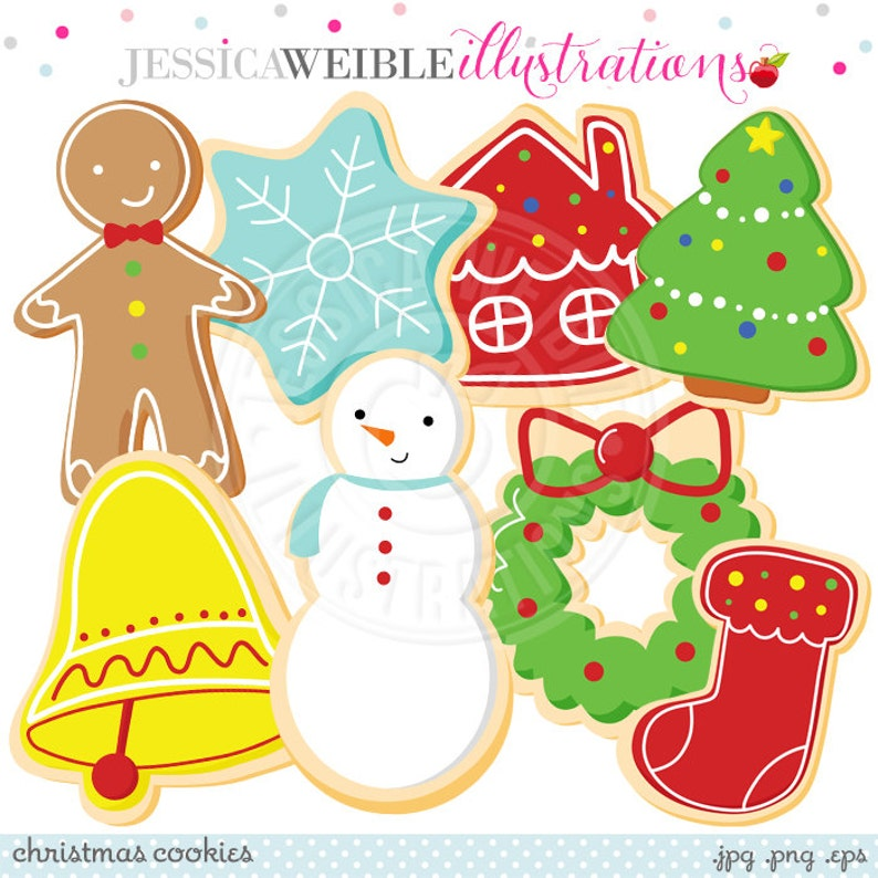 Christmas Cookies Cute Digital Clipart  Commercial Use OK  image 0
