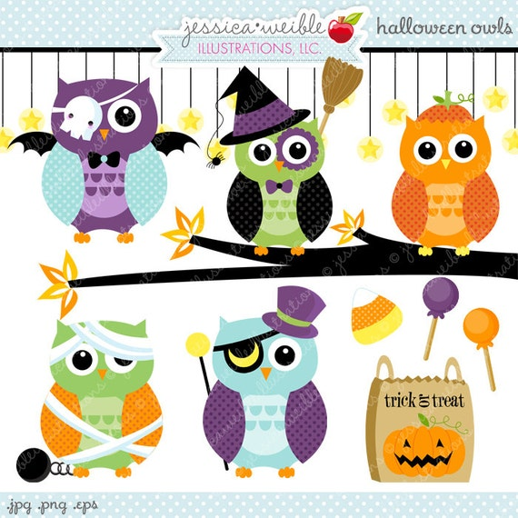 Halloween Owls Cute Digital Clipart Commercial Use OK
