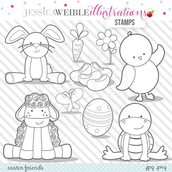 Easter Friends Digital Stamps Easter Bunny Blackline Easter | Etsy