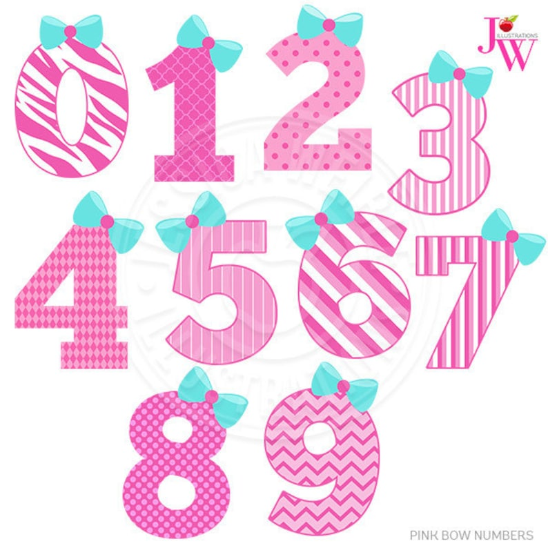 Pink Bow Numbers Cute Digital Clipart Bow Girl Number image 0