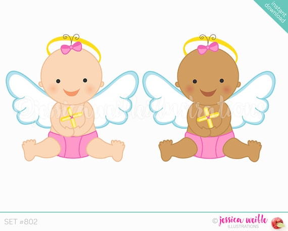 Instant Download Baby Girl Angel Cute Digital Clipart Cute Etsy