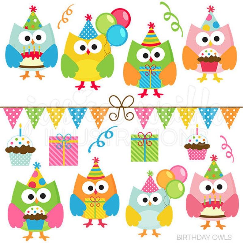 Verjaardag Uilen Cute Digitale Clipart Commerciele Gebruik Etsy