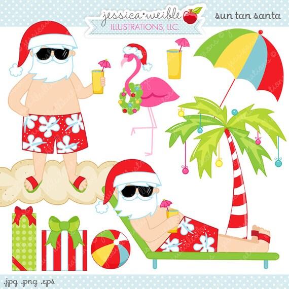 Christmas Clipart Santa.Sun Tan Santa Cute Digital Clipart Commercial Use Ok