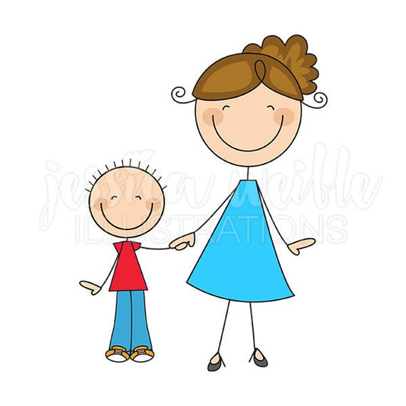 Mom And Son Stick Figures Cute Digital Clipart Commercial  Etsy-1152