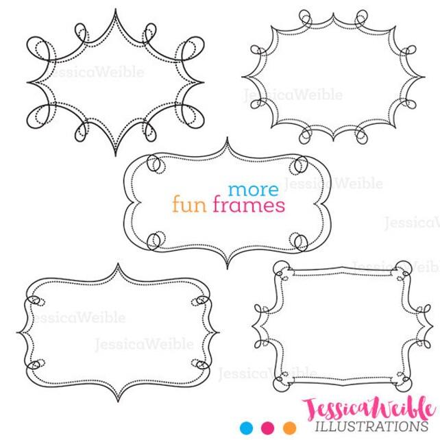 More Fun Frames Cute Clipart Swirl Frames Transparent | Etsy