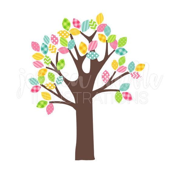 Frühling Muster Blatt Baum süß digitale Clipart Ostern Baum | Etsy