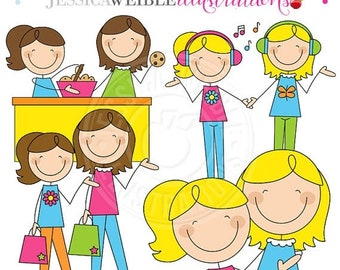 SALE Mom and Me Stick Figures Girls V1 Cute Digital Clipart for Invitations, Card Design, Scrapbooking, and Web Design, Mothers Day Clipart