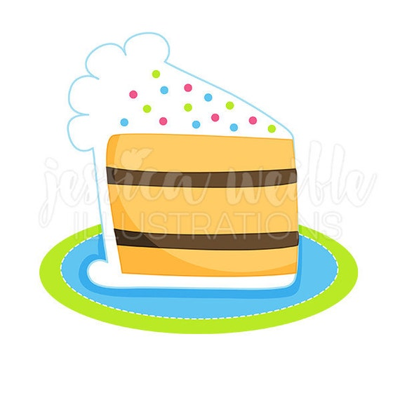 Groovy Slice Of Birthday Cake Cute Digital Clipart Cake Clip Art Etsy Funny Birthday Cards Online Bapapcheapnameinfo