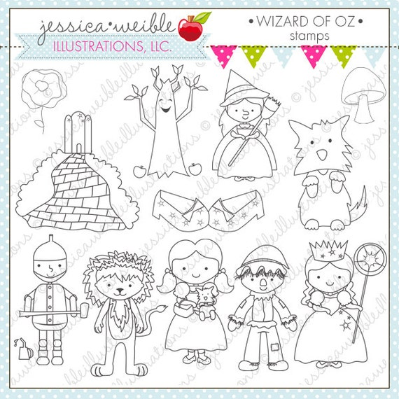 Wizard of Oz Cute Digital Stamps Wizard of Oz Line Art | Etsy