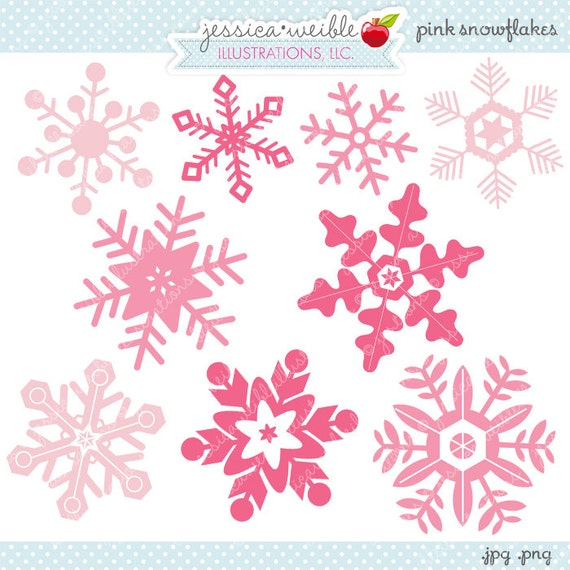 pink snowflakes cute digital clipart commercial use ok etsy