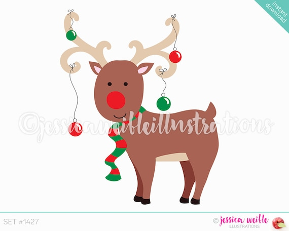 instant download cute christmas ornament reindeer digital clipart reindeer clip art christmas reindeer illustration 1427 by jw illustrations catch my party instant download cute christmas