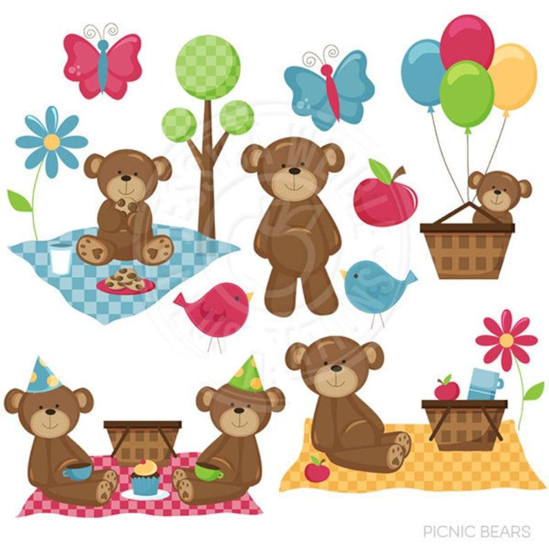 Picnic Bears Cute Digital Clipart Commercial Use Ok Bear Etsy