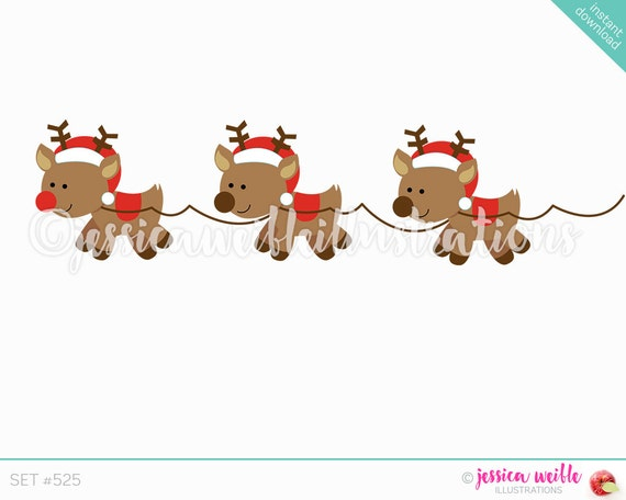 Christmas Clip Art Cute.Instant Download Flying Reindeer Clip Art Cute Digital