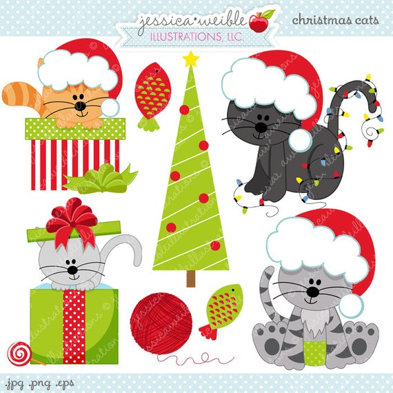 Christmas Cats Cute Digital Clipart for Commercial and | Etsy