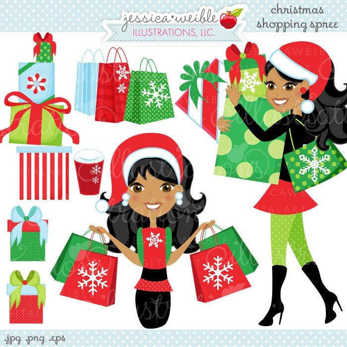 Weihnachts-Shopping Spree dunkle süße digitale Clipart | Etsy
