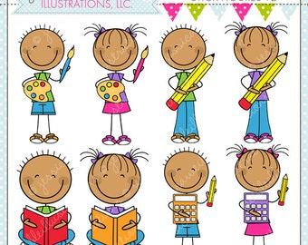 Ready For School Stick Figures V2 Cute Digital Clipart for Commercial or Personal Use, School Clipart, School Graphics, School Activity