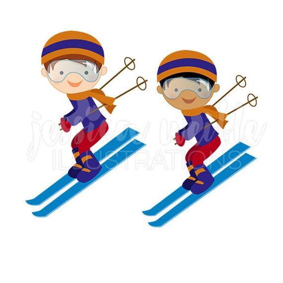 boy downhill skier cute digital clipart winter skiing clip etsy rh etsy com skating clipart free skiing clip art free