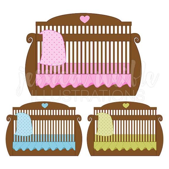 Braun Baby Krippe Niedlich Digitale Clipart Babybett Clipart Etsy