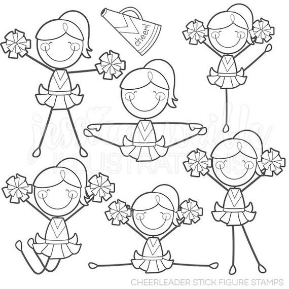 Cheerleader Stick Figures Digital Stamps Line