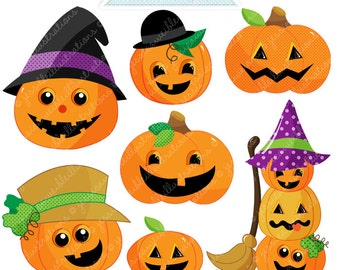 Silly Pumpkins Cute Digital Clipart - Commercial Use OK - Pumpkin Clipart, Halloween Graphics, Jack o Lantern