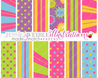 Super Hero Girls Cute Digital Papers for Card Design, Scrapbooking, and Web Design