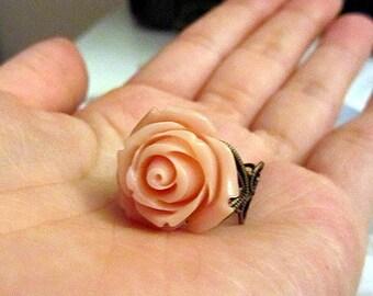 blush ring - vintage pink rose adjustable ring