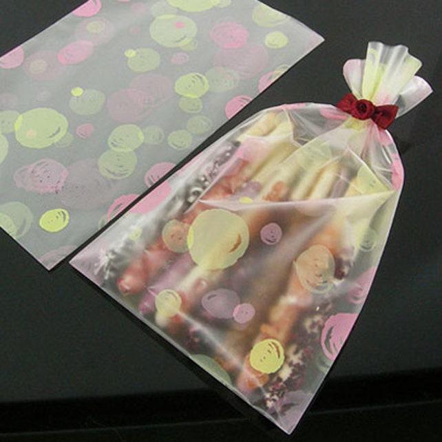 20 Waterdrop Semitransparent Bags - Yellow Pink (4.7 x 7.9in)