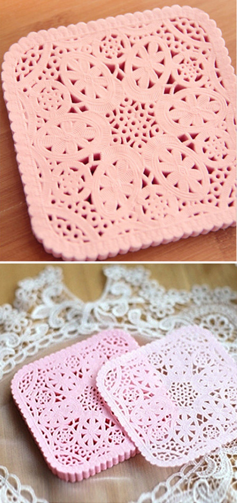 Pink 30 Square Lace Paper Doilies 3.9 x 3.8in